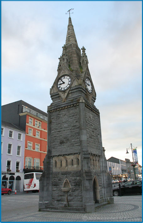 The Clock Tower, a prominent landmark on the Quay in Waterford City